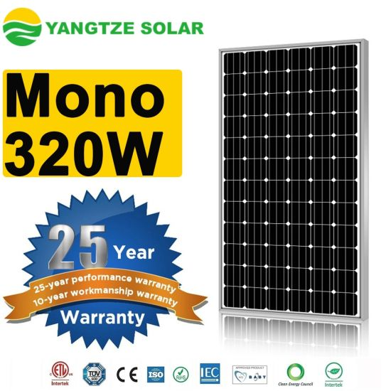 Yangtze Solar Panel Mono 320W 20kVA System for Terracotta Solar Roof Tiles pictures & photos