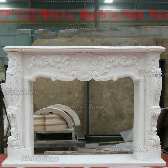 Hand Carved Indoor Classic Marble Stone Fireplace Mantel (GSMF-263) pictures & photos
