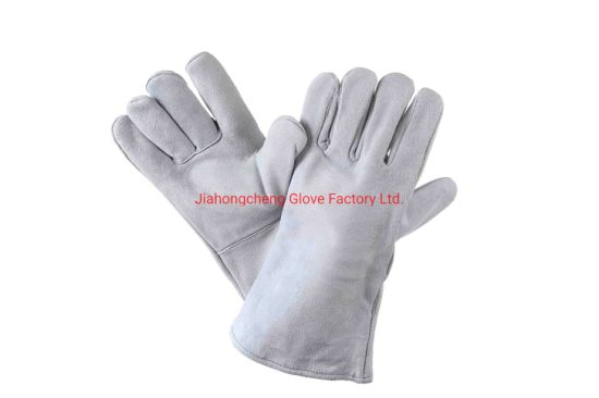 Grey Color Premium Quality Cowsplit Leather Welding Glove for Welding Applications, Leather Work Glove