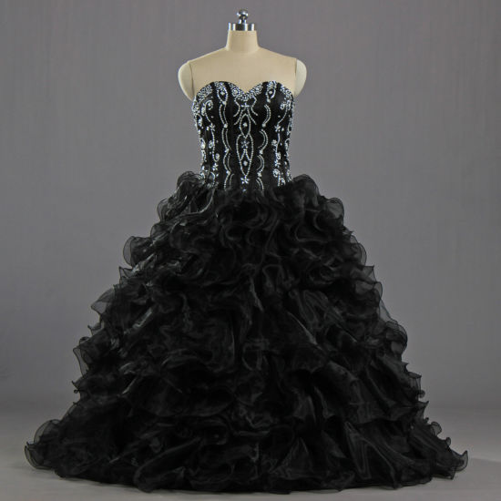 E627 Girls Black Pageant Strapless Bead Ruffle Organza Ball Gown Quinceanera Dresses