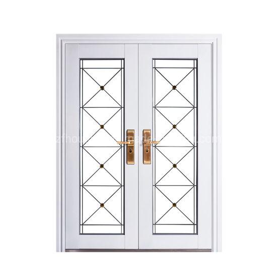 White Tempered Glass Steel Security Door for Outdoor or Indoor Zf -Ds-006