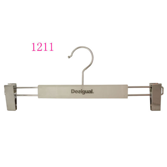 European Luxury Adjustable Metal Pants Clothes Hanger with Clips pictures & photos