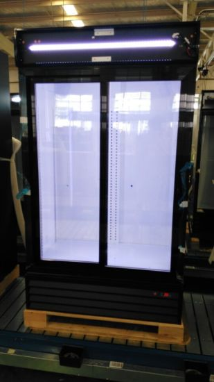 Digital Control Sliding Door Upright Beverage Cooler with Famous Compessor pictures & photos