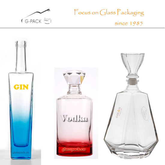 Crystal Glass Bottles with Decoration for Vodka, Gin, Rum, Liquor
