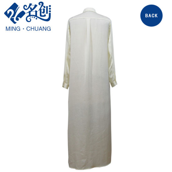 White Newstyle Button Long Sleeve Fashion Long Thin Women Dress pictures & photos