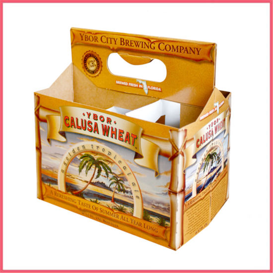 Custom Printed Recycled Corrugated Kraft Paper Six Packing 6 Bottles Wine Alcoholic Drink Beer Beverage Holder Liquor Carrier Basket Packaging Carton Box