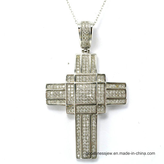 Simple Design 925 Sterling Silver Cross Pendant Jewelry with 3A White CZ (P50000) pictures & photos