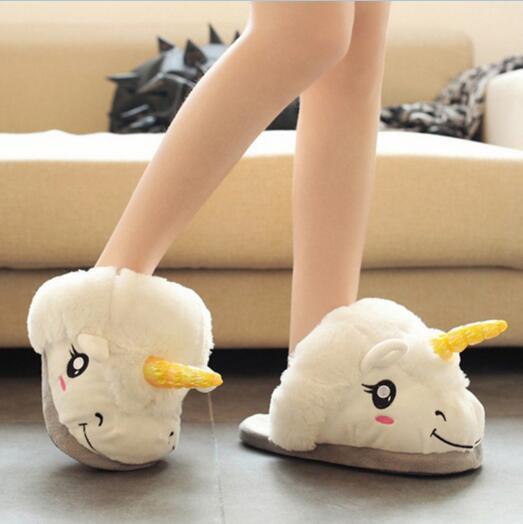 Cartoon Indoor Slippers Plush Unicorn Fur Slippers