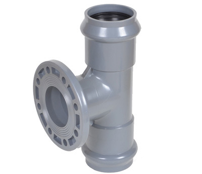 PVC Faucet Tee with Flange Branch of Rubber Ring Fittings pictures & photos