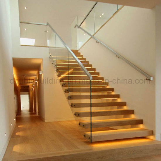 LED Floating Wooden Staircase with Glass Railing Stainless Steel Balustrade