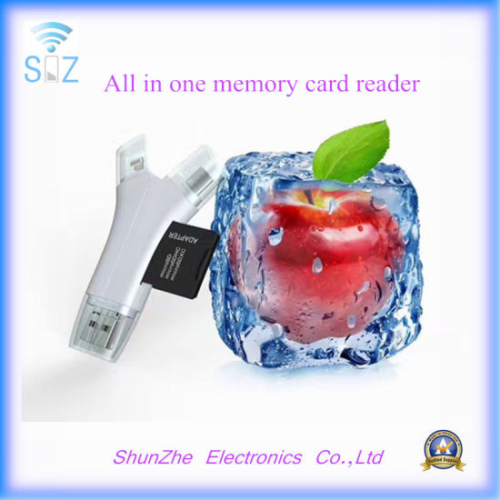All in One Interface TF Memory Card Reader for iPhone Samsung Androids Device Lightning Micro-USB USB