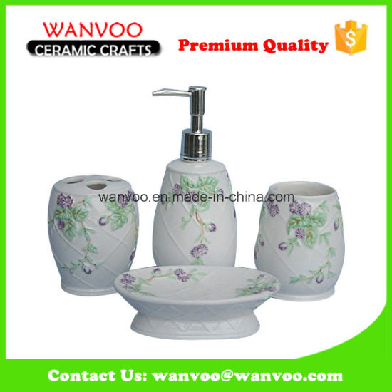 Wholesale Colorful Stoneware Bathroom Accessory Set on Emboss Finished pictures & photos