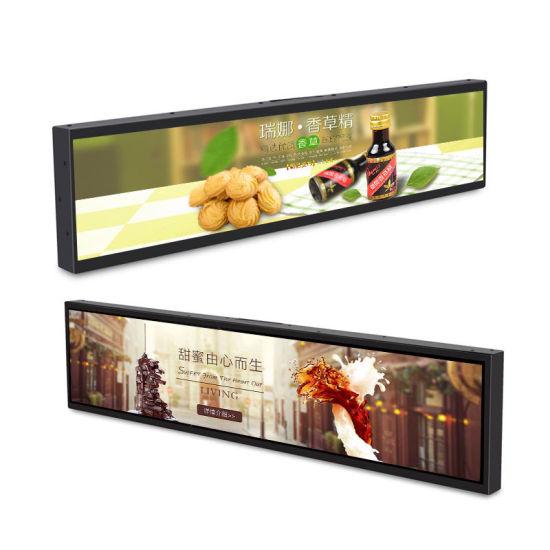 Wholesale Digital Signage Supermarket Advertising Screen Strip Edge Stretched Bar LCD Shelf Displa
