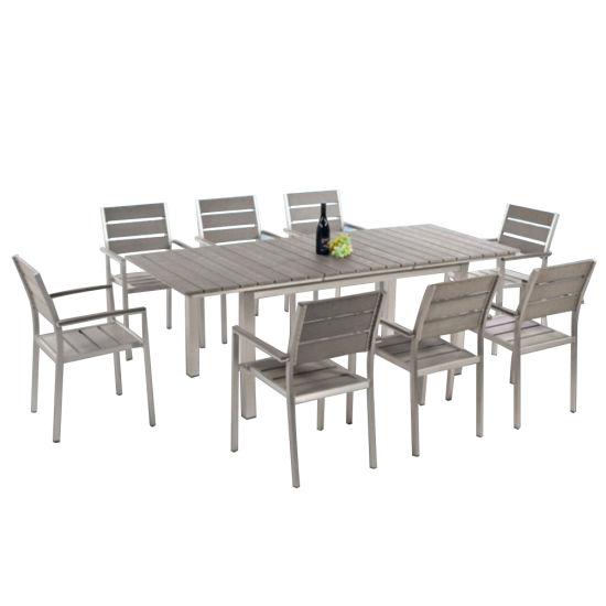 Outdoor Brushed Aluminium Extendable Dining Set