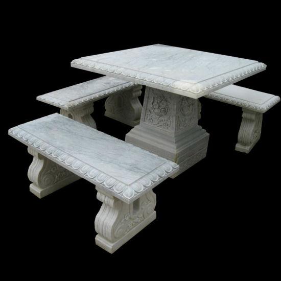 China Garden Marble Table Set China Garden Furniture Stone Furniture - Stone picnic table set