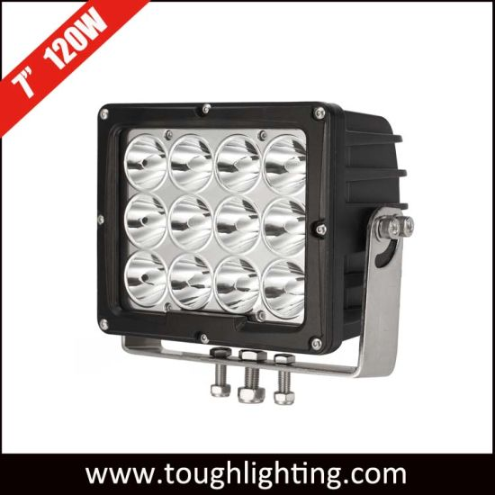 Heavy Duty 7 Inch 12*10W CREE LEDs 120W Square Offroad 4X4 LED Driving Work Lights