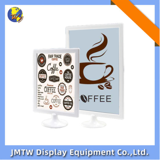 Double Sided Desktop Display Stand for Advertising with Round Base