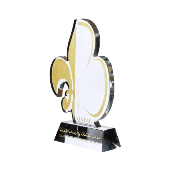 Wholesale Fashion Metal Souvenir Trophy for Cheer Leaders Custom Carved Crystal Glass Award Trophy for Decoration (053)