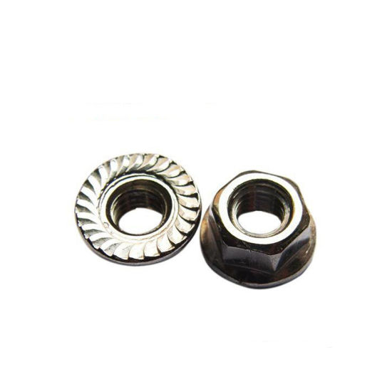 Flange Hex Locknut 304 Stainless Steel M3 M4 M5 M6 M8 M10 M12 Serrated Lock Nuts
