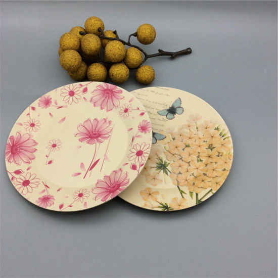 Compostable Printing Melamine Dinner Plates Bamboo Fiber Dish : printing on dinner plates - pezcame.com