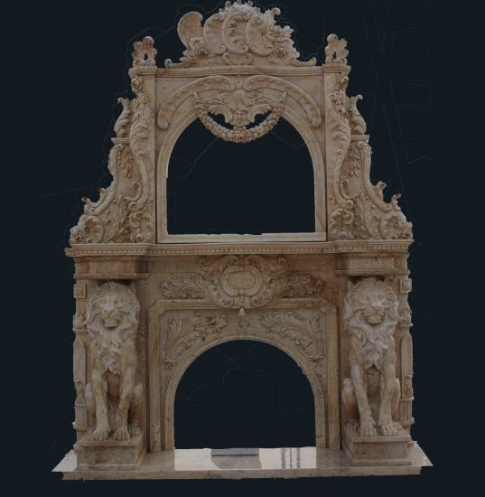 Marble Lion Sculpture Mirror Fireplace Mantel