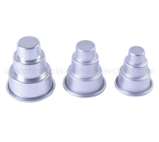 OEM Aluminum Three Layer Round Pudding Cake Cup Mold pictures & photos