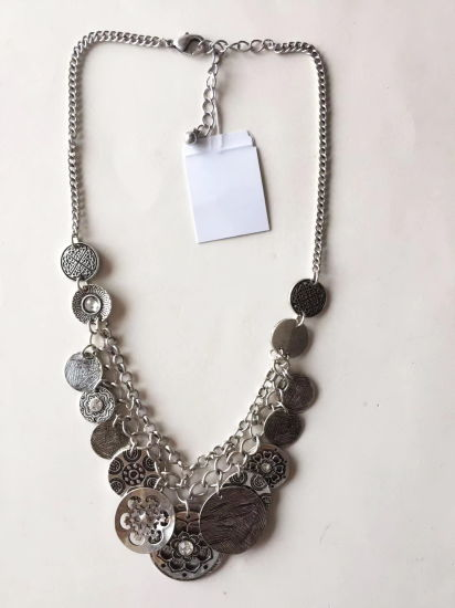 Fashion Necklace Double Chain Gold with Round Pendant 22~24+3cm