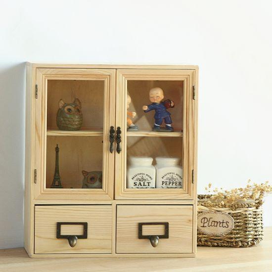 Organizer Furniture Cosmetic Storage Box Pine Wood Cabinet Home Furniture