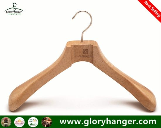 Customised Luxury Beech Wood Coat Hanger -Fashion Display (GLWH226)