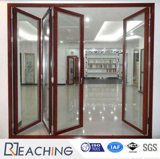 China Wood Grain Color Aluminium Folding Door Factory Manufacturer ...