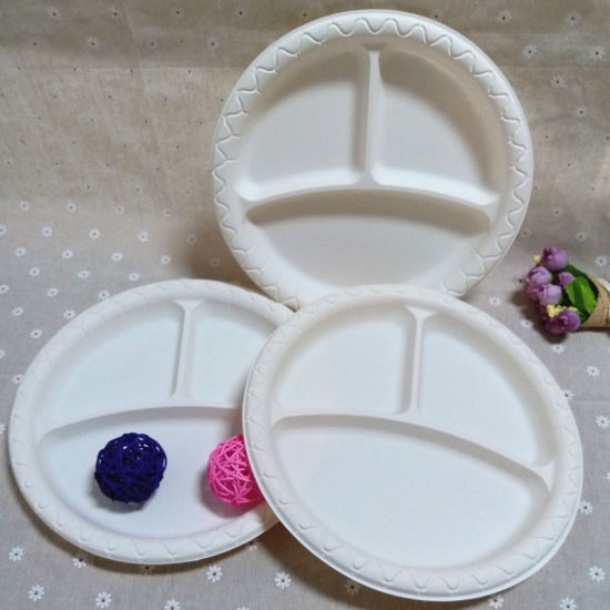 Three Compartments Round Dish Cornstarch Portion Disposable Plates : china like disposable plates - pezcame.com