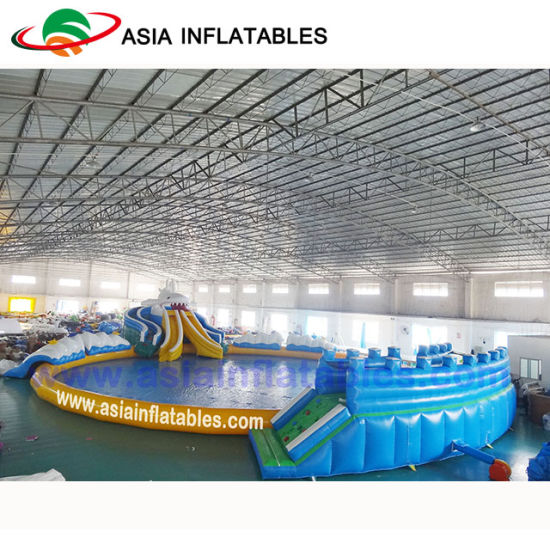 Giant Dragon Slide Inflatable Water Park Amusement Land Park with Swimming Pool pictures & photos