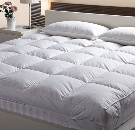China All Seasons Use White Duckgoose Down Feather Mattress Pad