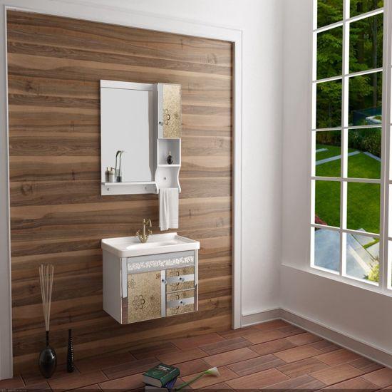 Mirrored Stainless Steel Modern Bathroom Hotel Furniture Vanity Cabinets