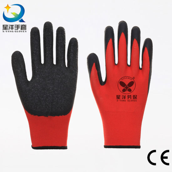 Most Competitive 13G Polyester Liner with Crinkle Latex Coated Safety Work Gloves with Ce