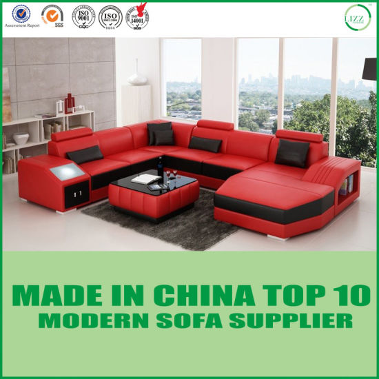 China Home Furniture Italian Leather Sofa with Chaise Bed ...