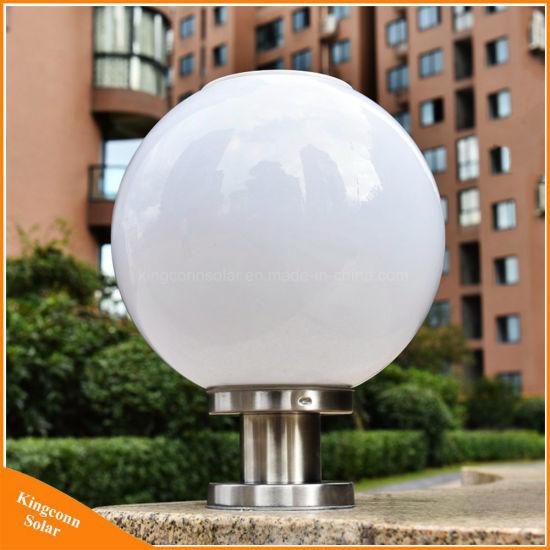 Round Ball Solar Pillar Lamp Outdoor LED Garden Post Light