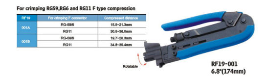 New Adjustable Compression Crimping Tool For RCA//BNC//F Type Connectors
