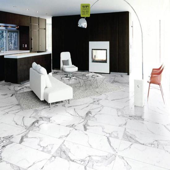 Thickness 112mm Gloosy Building Material White Marble Polished Ceramic Floor Tile For Livingroom Decoration CAR1200P