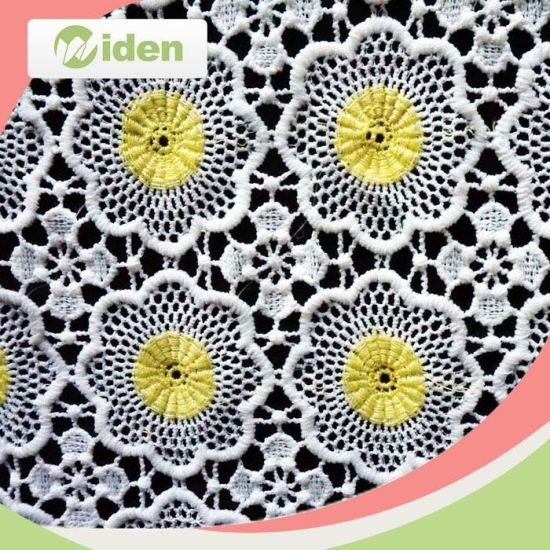 Colors Dyeable 100 % Polyester Chemical White Flower Lace Fabric pictures & photos