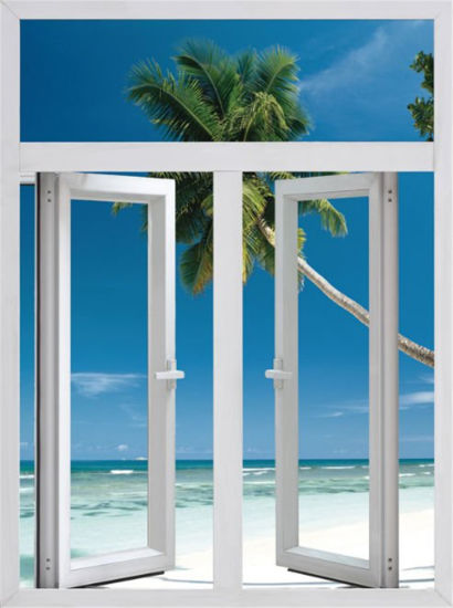 Wooden Color Aluminium Casement Window with Arch pictures & photos