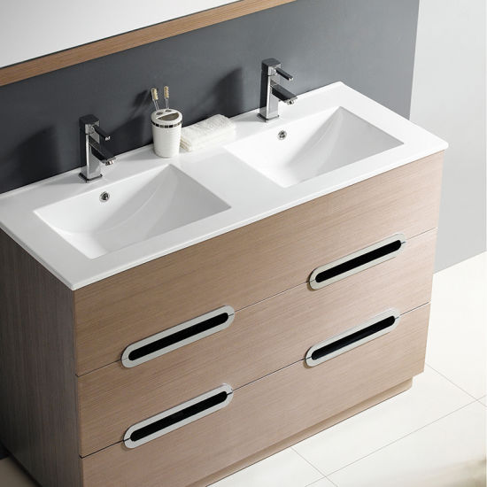 Commercial White Ceramic Bathroom Vanity Double Tap Kitchen Bowl