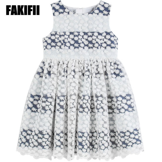 Wholesale American&European Style Baby Wear Kids Clothing Summer Girl Striped Mesh Dress Children Cotton Apparel pictures & photos