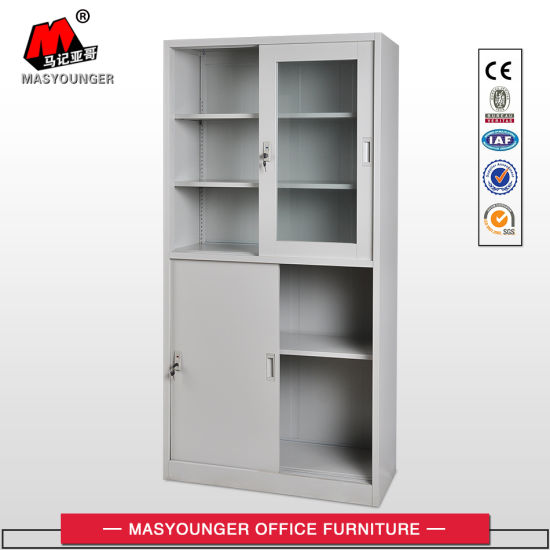 Full Height Sliding 4 Doors Kd Structure Office Use Storage File Cupboard
