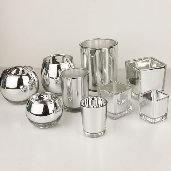 Hot Sell Electroplating Silver Glass Decorative Candle Jars pictures & photos