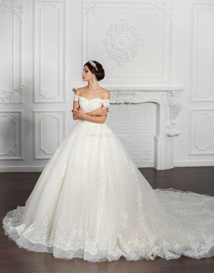 China Long Train Wedding Dress Off Shoulder Sleeves Lace Ball Gown Bridal Dress Wd003 China Long Train Wedding Dress And Ball Gown Wedding Dress Price