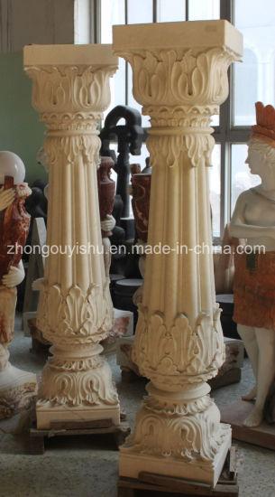 Pedestal Column White Marble Carving