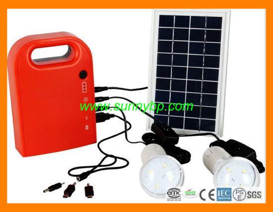 5w Portable Solar System Lighting Kit Lithium Battery