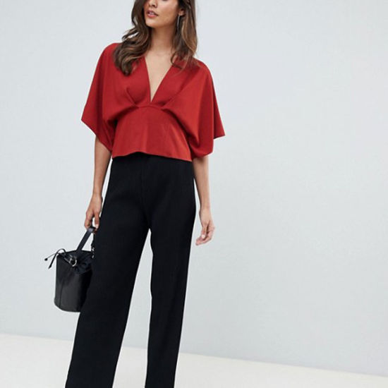 Womans Plunge Top with Batwing