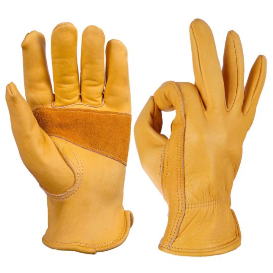 Full Cowhide Leather Flexible Durable Stretchable Tough Working Leather Glove